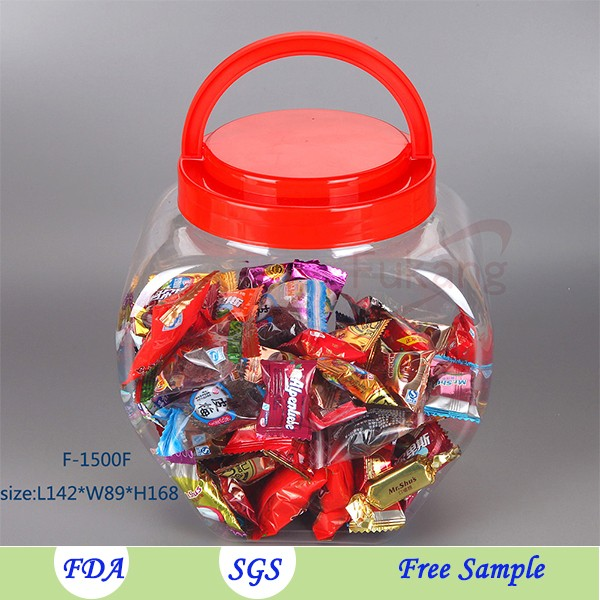 1500ml Clear Empty Heart Shape Food Storage Cookies /Peanut Plastic Bottle with Handle Cap