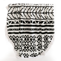 black and white round Beach Towel With Tassels for Australia/newzealand/usa/spain market