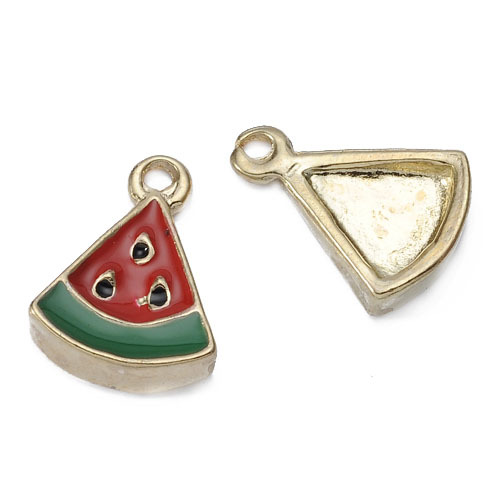 New Design Red Oil Drop Metal Watermelon Charm Jewelry Hangtag Findings