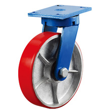 High Performance High Quality 8-inch Drop Forged Steel Industrial Heavy Duty Red PU on Iron Cast Caster