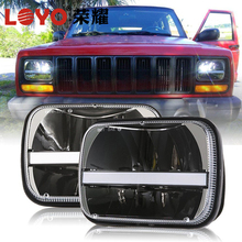 "7"" standard H4 hi/lo beam rectangle led headlamp for jk ,5*7"" square headlight for cherokee, Toyota Hilux , Landcruiser"