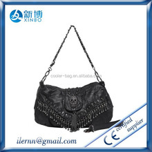 Cool skull studs chain leather women hobo crossbady bag