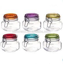 500ml Clear Glass Food Spice Storage Jars with Metal Clip Glass lids