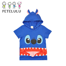 2017 Apparel For Childrens Stick Out Tongue Monster Hooded Summer Boys T Shirt