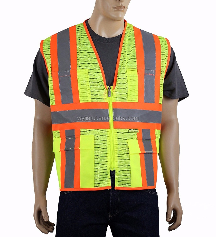 high visibility fluorescent mesh safety vest