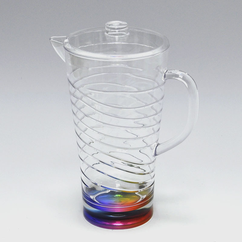 Swirl design rainbow color acrylic water pitcher filter