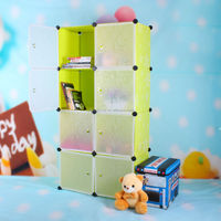 High quality clear acrylic DIY plastic panel assembled bookcase