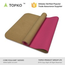 Wholesale Eco friendly Double Layer Custom Printed Cork TPE Yoga Mat