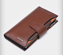 Men genuine leather multi-card position cell phone purse clutch wallet