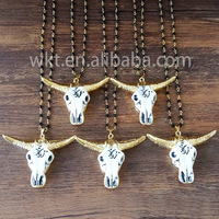 WT-N430 Wholesale fashion resin cattle horn necklace gold electroplated buffalo cattle cow horn necklace