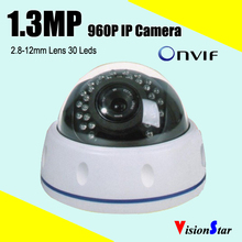 Clear night vision dome ip camera motion sensor rj45 onvif varifocal lens 1.3mp 960p 30pcs leds support network digital camera