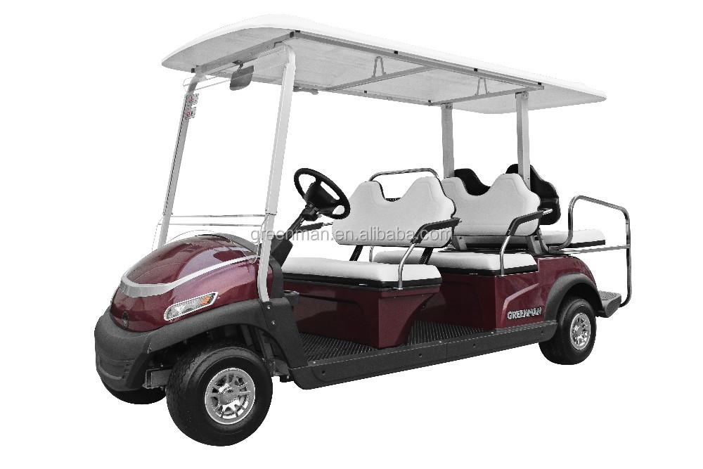 Electric 6 seats battery aluminium back to back golf cart shuttle with Curtis controller Trojan battery