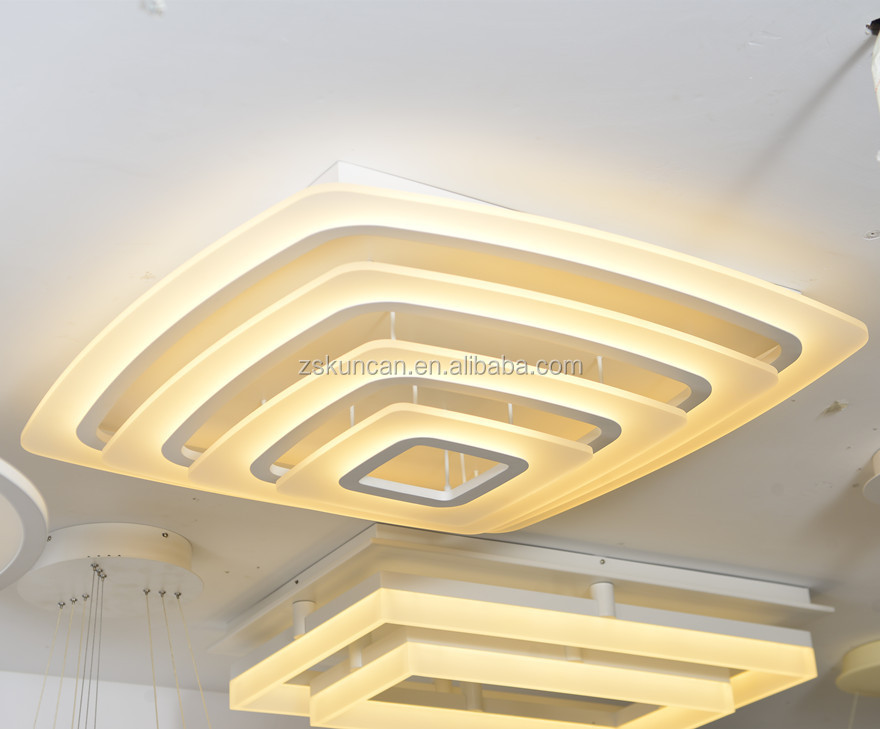 modern 4-layer acrylic ceiling led lamp for luxury hotel