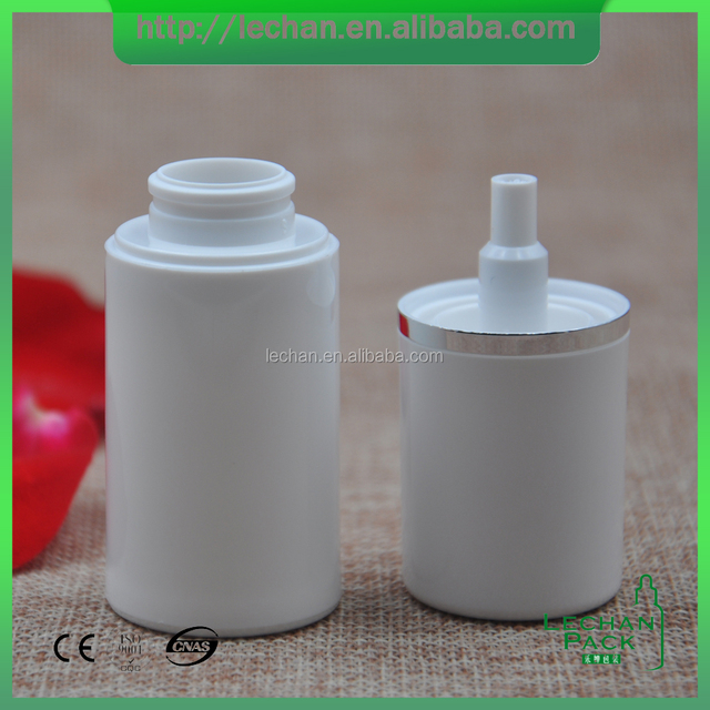 Face Cream White Color Sliver Line Airless Bottle with Spray Pump