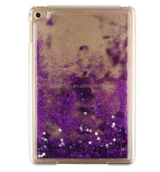 Hard plastic bling bling flowing sand tabet case for ipad mini, for mini ipad 4 cover case sparkling quicksand design