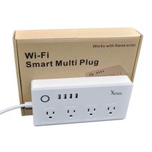 Xenon Wi-Fi Smart Plug Socket Outlet US Works with Amazon Alexa 5-Feet 4-Outlet Remote Control Socket