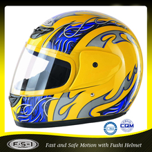 yellow cool ABS shell full face motorcycle helmet vintage