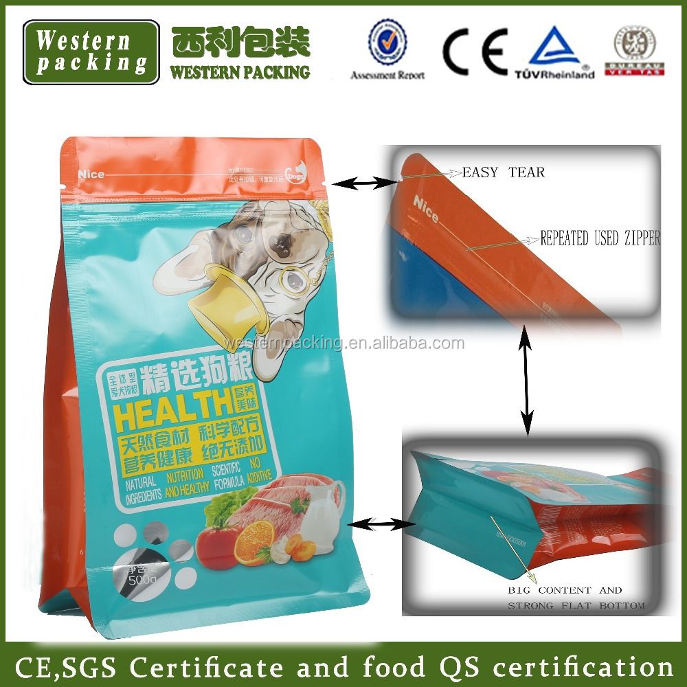 Top Resealable Bottom Gusset Plastic Animal Feed Pet Dog Food Packaging Bag 500g 1kg 5kg 10kg