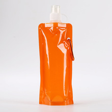 500ml Portable sports hiking use BPA free standing up plastic cute kids foldable water bottle
