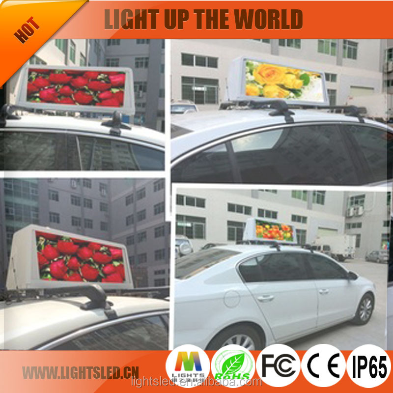 China Supplier LED Display Sign with High Efficiency, Hot Outdoor <strong>Advertising</strong> P4 Waterproof IP65 Taxi Top LED Display