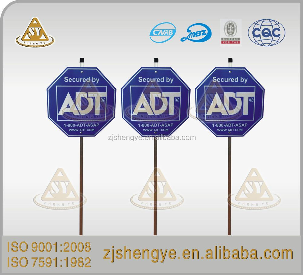 Reflective plastic security yard signs,reflective polyethylene security yard signs,reflective metal security yard signs