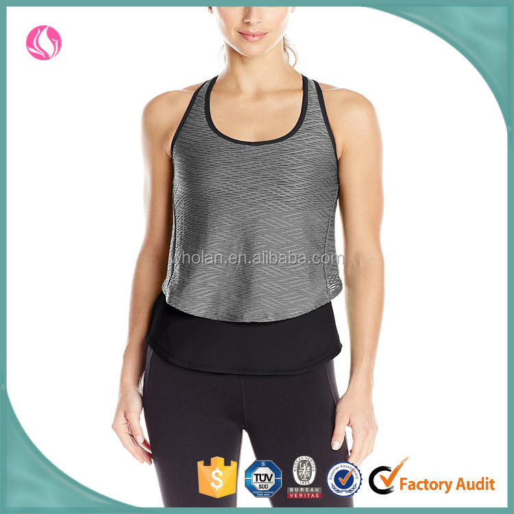 wholesale newest design women backless tank tops, fitness wear two suits, run women's flash sports tank tops