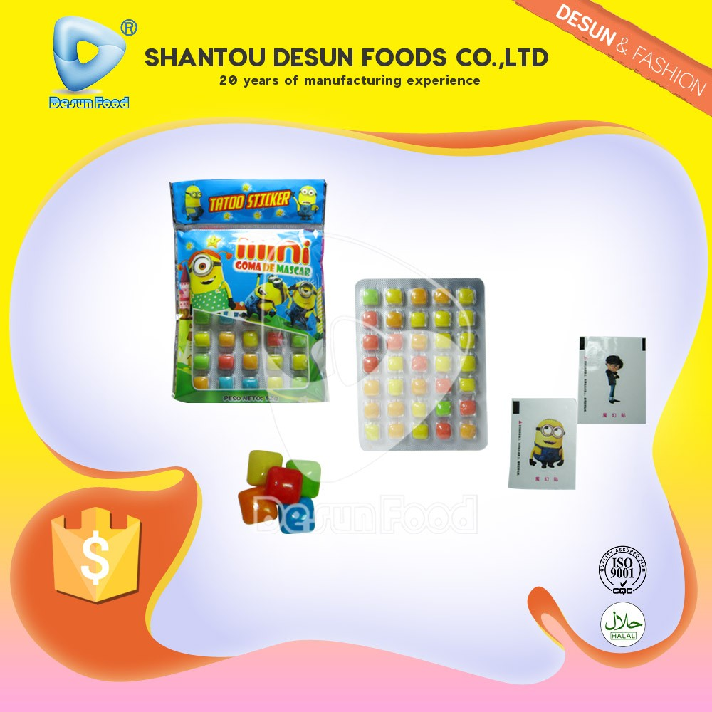 Mini cartoon design mini bubble gum with tatoo sticker
