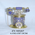 Nostalgic Telephone with golden chain Design Antique Trinket Box Storage for Jewels dainty and sparkling