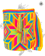 Genuine Wayuu Vibrant Mochila Bag by Jardin del Cielo (Thin Belt)