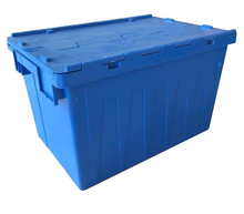 Plastic hinged lid tote box with packing container for moving