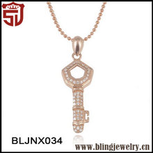 Gold Plated Key Pendant Beaded Chain 925 Silver Necklace