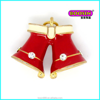 Cheap custom alloy red enamel bulk Christmas bell jewelry charms wholesale for girls