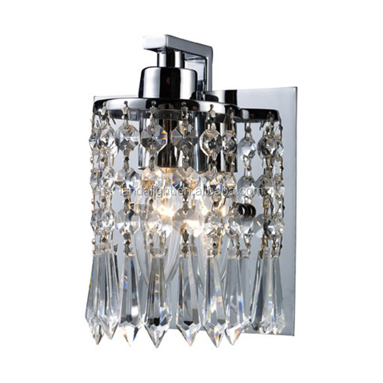 2016 hot selling products crystals wall lamp sconce and steel base for home design