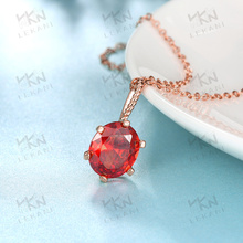 new design women necklace 2016,rose gold chain necklace red zircon