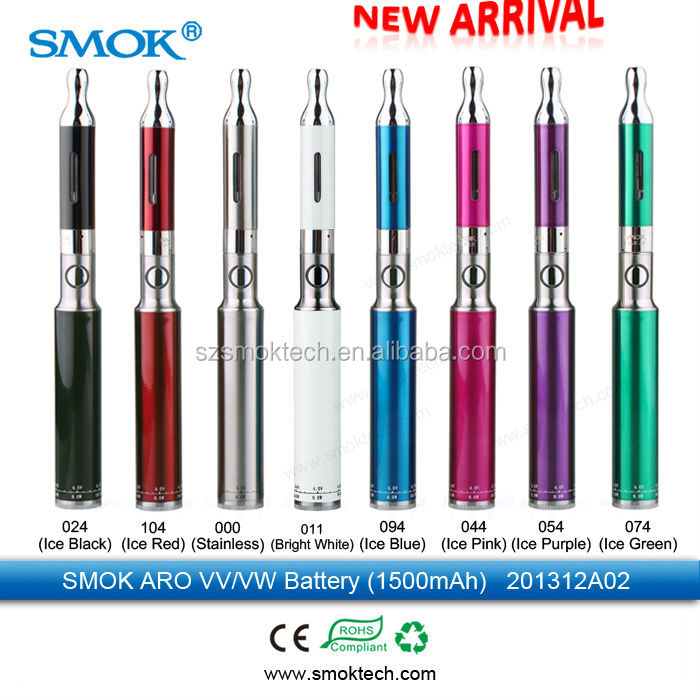 most popular Smok tech 1500mah Aro ego vv/vw battery ecigs