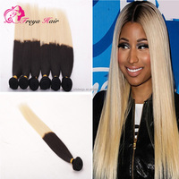 1B /60# Silky Straight Two tone color Human Hair Extension, Ombre Color Hair Weft