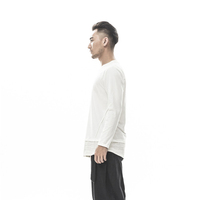 Fashion Men's Tall Elongated 100% Cotton White Custom Embroidered Long Sleeve Men's t shirts