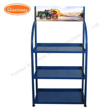 Floor stand metal car accessories shop battery storage trade show display shelves stand rack for battery
