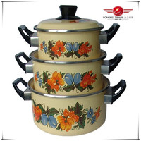 porcelain coated enamel cookware high quality with decoration