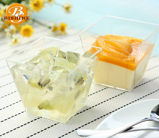 Taiwan Made Disposable Square Shape Plastic PS Yogurt Jelly Cupcake 6oz Mousse Dessert Cup With Lid
