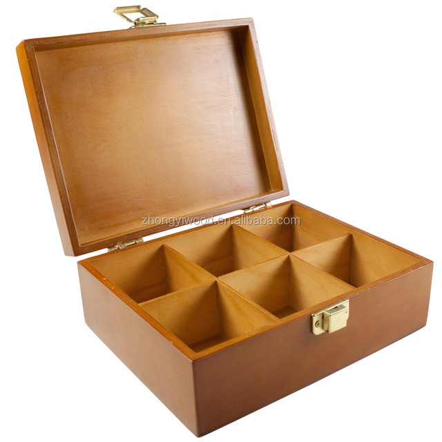 Natural WoodenTea Storage Box With 6+ Divided Compartments