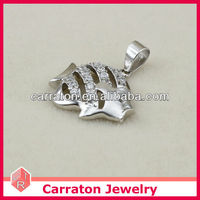 Popular cute animal stone pendant, 925 silver fish pendant with white stone