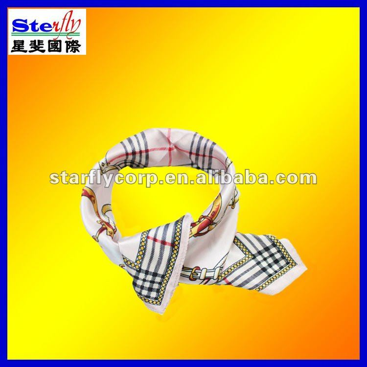 ST-SC40-2#2013 fashion mixture checked beige color silk scarf/kerchief