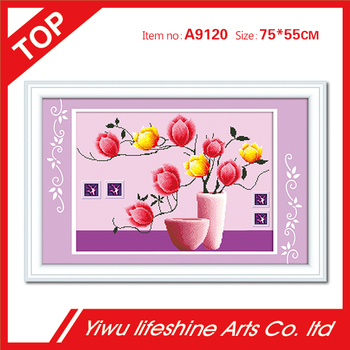 pink flower and glass vase Europe style 5D resin diamond painting mosaic craft for meeting room decoration