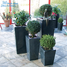 high quality and high polished shape black color decorative garden stone carved pot