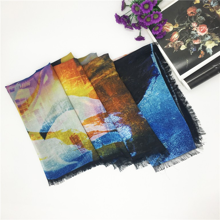 High end customized 8mm georgette silk scarf printing fringe hem