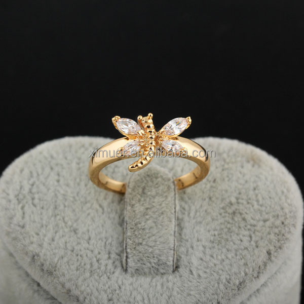 Popular wholesale crystal dragonfly gold engagement ring