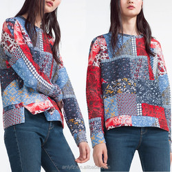 Anly wholesales images of ladies casual tops design colorful printed twill sweater