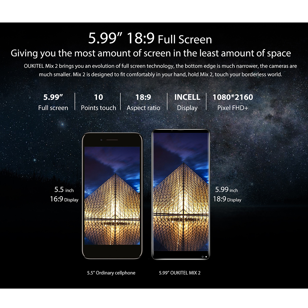 5.99inch Oukitel MIX 2 FHD 18:9 Full Display Android 7.0 MTK6757 Smartphone 6G 64G Dual Camera Fingerprint Mobile Phone