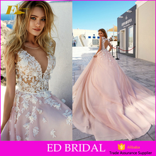 High Quality Beach Sleeveless Appliques Guipure Lace Open Back Long Trail Blush Pink Wedding Dress